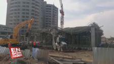 Mersin'de hastane inşaatında çökme
