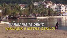 Marmaris'te deniz yaklaşık 5 metre çekildi