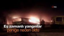 Eş zamanlı yangınlar paniğe neden oldu