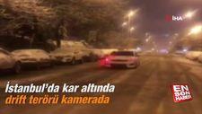 İstanbul'da kar altında drift terörü kamerada