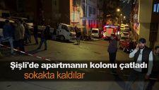 Şişli'de apartmanın kolonu çatladı sokakta kaldılar