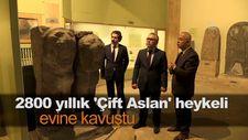 2800 yıllık 'Çift Aslan' heykeli evine kavuştu