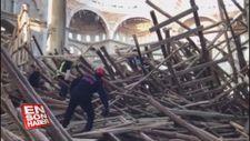Gaziantep'te cami inşaatında çöken iskelenin altında kalan 2 işçi yaralandı