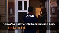 Konya'da çökme tehlikesi bulunan bina tahliye edildi