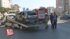Yeşil ışığı kaçırmamak için gaza yüklenen sürücü kazaya neden oldu