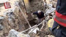 Yağmur gideri için çalışma yapan işçi, toprağın altında kaldı