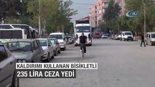 Kaldırımını kullanan bisikletli 235 lira trafik cezası yedi