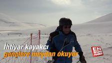 İhtiyar kayakçı gençlere meydan okuyor