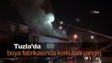 Tuzla'da boya fabrikasında korkutan yangın