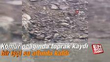 Kömür ocağında toprak kaydı bir işçi su altında kaldı