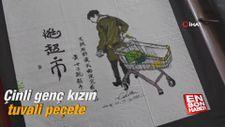 Çinli genç kızın tuvali peçete