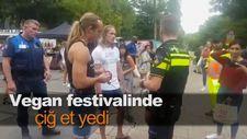 Vegan festivalinde çiğ et yedi