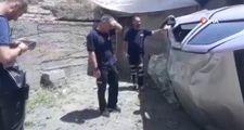 Ağrı'da otomobil 10 metre yükseklikten evin bahçesine uçtu