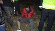 Alkollü sürücü kaçmak isterken bahçe duvarından düştü