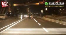Arabanın arkasına takılan patenli genç ezilme tehlikesi atlattı