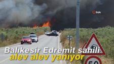 Balıkesir Edremit sahili alev alev yanıyor