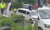 Beşiktaş'ta şoför aracı çekilince otomobilinin üzerine çıktı