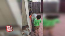 Çöp kutusunu oyuncağa çeviren ufaklıklar