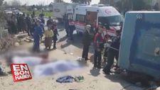 Mersin'de tarım işçilerinin otobüsü devrildi