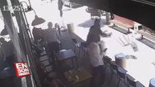 Kaçan hırsızı bar sandalyesiyle saniyeler içinde etkisiz hale getirdi