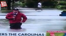 Kasırga her yeri göle çevirdi diyen muhabirin zor anı