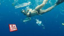 3 ton çöple yüzen dalgıçlar