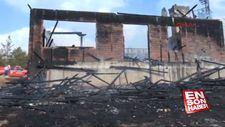 Sivas'ta ormanlık alandaki dağ evi yangında kül oldu