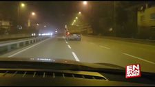 Otoyolda trafiği tehlikeye atan hafriyat kamyonu