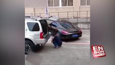 Yanlış park eden araca ilginç çözüm