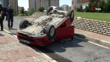 İstanbul'da direksiyon dersinde takla attı