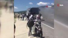 Denizli'de yolcu otobüsünde yangın çıktı