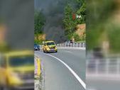 Zonguldak'ta seyir halindeyken yanan otomobil küle döndü