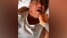 Takma dişlerini süpürgeye kaptıran adam