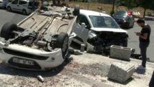 Yenibosna'da sürücü, takla atan otomobilin içinde sıkıştı