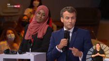 Emmanuel Macron, canlı yayına başörtülüleri çıkardı