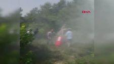 Kocaeli'de çıkan orman yangınına sağlık çalışanları müdahale etti