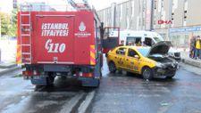Başakşehir'de yangına giden itfaiye aracı taksiye çarptı