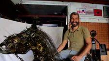 Muğla'da 3 bin hurda parçasını birleştirerek at yaptı