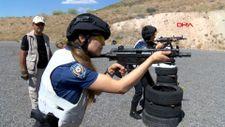 Kayseri'de, kadın polisler atış eğitiminde