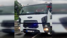 Üsküdar'da, çakarlı kamyon sürücüsüne para cezası verildi