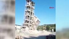 Çorum'daki fabrikanın kuleleri, saniyeler içinde yıkıldı