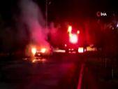 Çorum'da park halindeki otomobil alev alev yandı