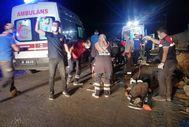 Van'da kaçak göçmen taşıyan minibüs kaza yaptı