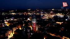 Galata Kulesinde 15 Temmuz mapping gösterisi