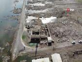 Kars'ta baraj suları çekildi, cami ve okul ortaya çıktı