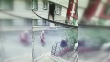 Şişli'de motosikletin çalınma anları kamerada