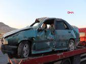 Kayseri'de refüje çarpan otomobil takla attı
