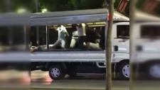 Antalya'da kamyonet kasasında dans