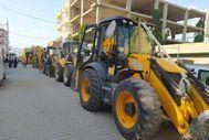 Mardin'de iş makineleri ile düğün konvoyu yaptılar