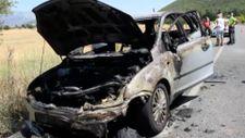 Muğla'da yanan otomobil kullanılamaz hale geldi